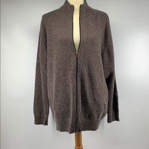 PENDELTON Brown Wool Zip Up Cardigan Sweater